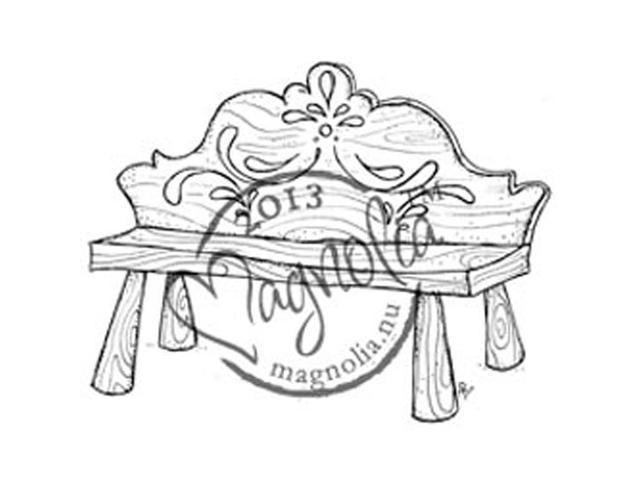 Once Upon A Time Cling Stamp-Vintage Swedish Bench
