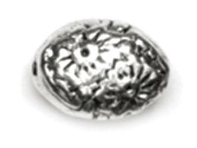 Precious Accents Silver Plated Metal Beads & Findings-9mm Oval Bead 18/Pkg
