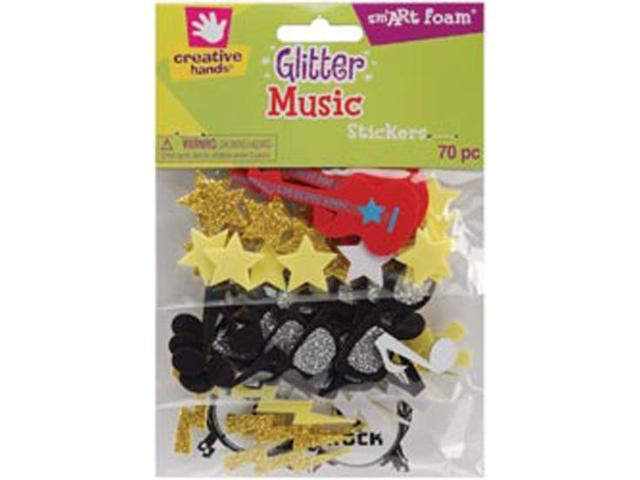 Foam Glitter Stickers 70/Pkg-Music