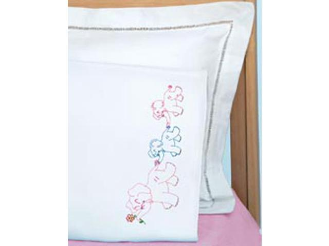 Children's Stamped Pillowcase With White Perle Edge 1/Pkg-Elephant Train