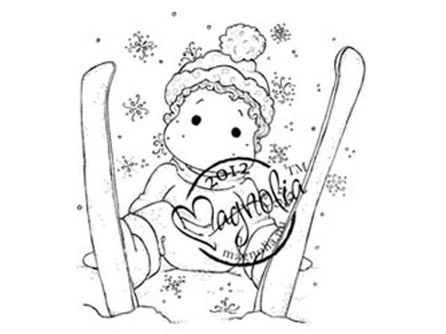 A Christmas Story Cling Stamp-Ski Edwin With Snowflakes