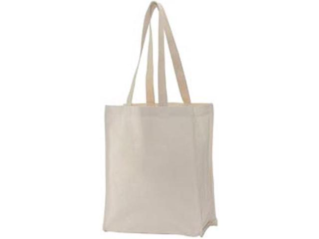 Natural Canvas Tote Bag W/Stitched Gusset 10.75