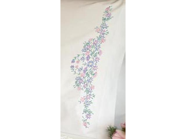 Wildflowers Pillowcase Pair Stamped Embroidery-20