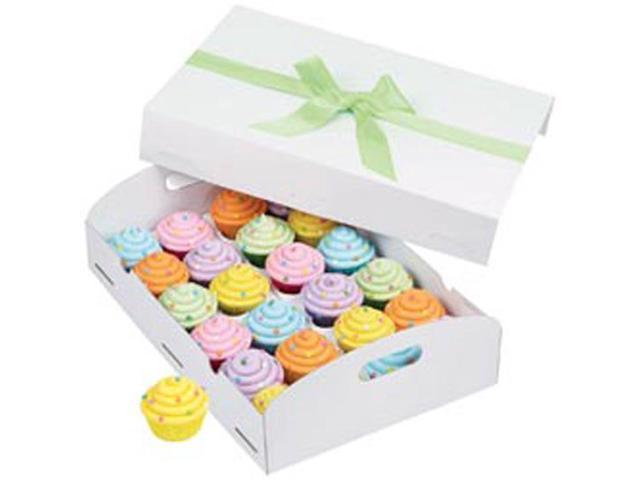 Cupcake Box Folding Tray-24 Cavity White 1/Pkg