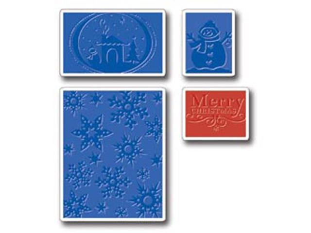 Sizzix Textured Impressions Embossing Folders 4/Pkg-Christmas