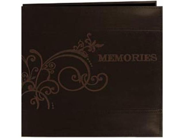Embroidered Scroll Leatherette Postbound Album 12