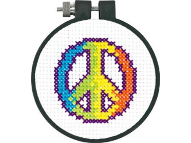 Learn-A-Craft Rainbow Peace Counted Cross Stitch Kit-3