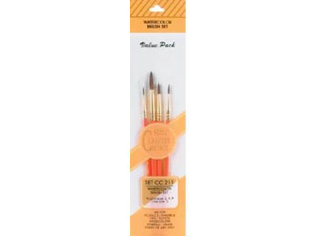 Crafter's Choise Watercolor Brush Set 4/Pkg-Round 2,4,8 Liner 0