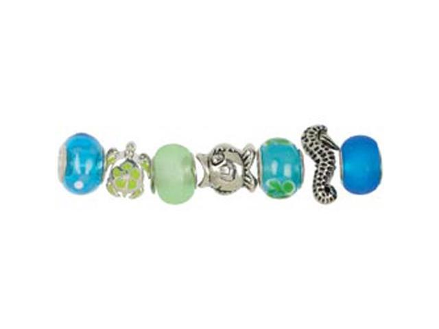 Trinkettes Glass & Metal Beads 7/Pkg-Teal Ocean Mix