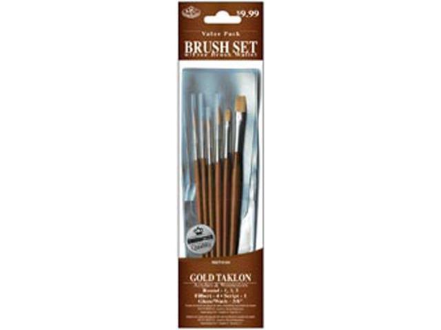 Brush Set Value Pack Gold Taklon 6/Pkg-Rnd 1,3,5 Filbert 4 Scrpt 1 Glz/Wsh 3/8