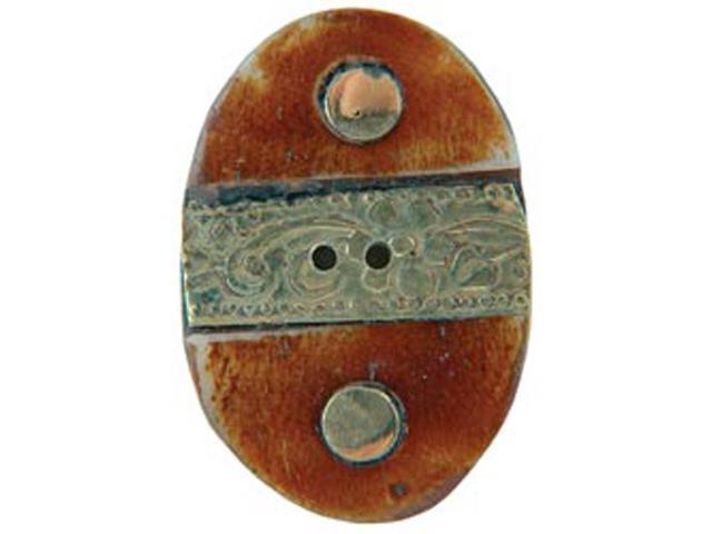 Handmade Bone Button-Oval W/Gold Metal Trim 1-1/2