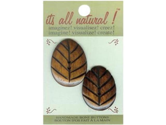 Handmade Bone Button-Natural - Oval Carved 2/Pkg