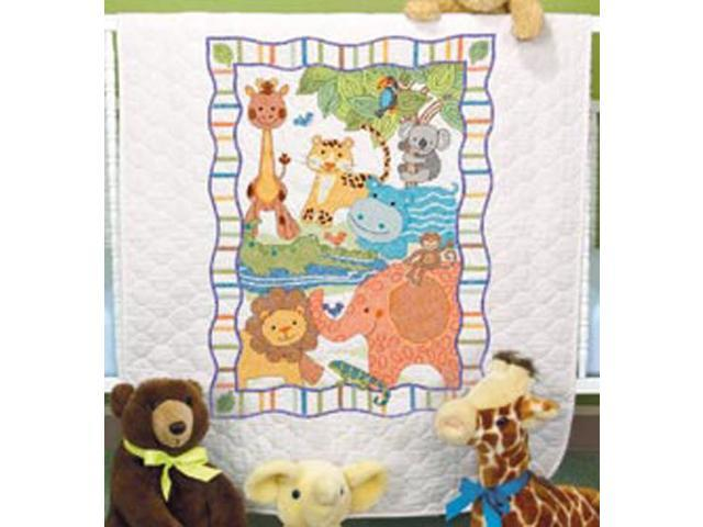 Baby Hugs Mod Zoo Quilt Stamped Cross Stitch Kit-34