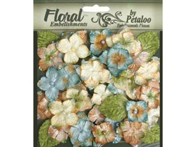 Floral Embellishments Velvet Hydrangeas With Glitter 36/Pkg-Blue