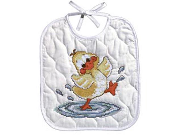 Just Ducky Bib Stamped Cross Stitch Kit-9-1/2