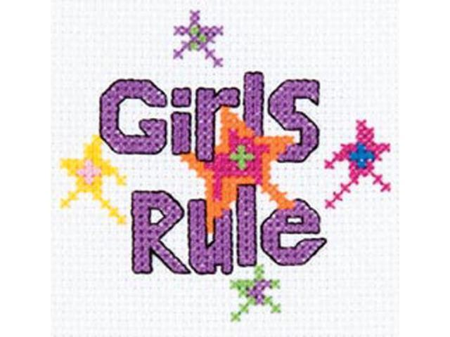 My 1st Stitch Girls Rule Mini Counted Cross Stitch Kit-3