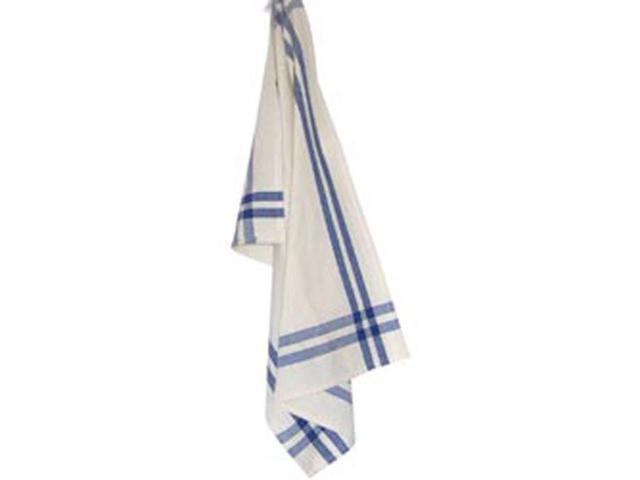 Cream Towel W/Provincial Blue & Black Stripes 20