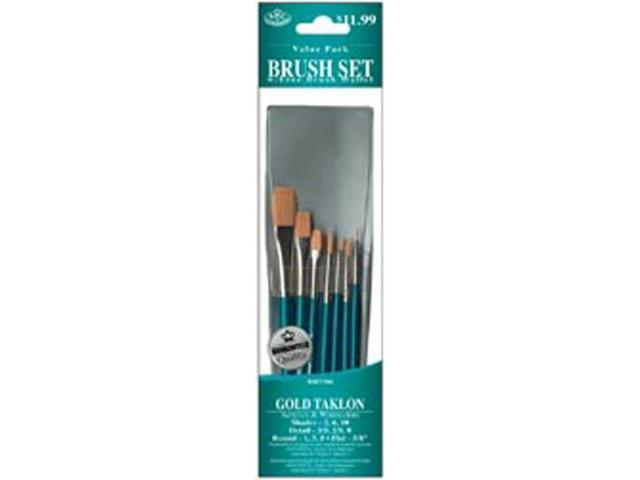 Brush Set Value Pack Gold Taklon 10/Pkg-Shd 2,6,10 Rnd 1,3,5 Dt 3,2,0 Flat 5/8