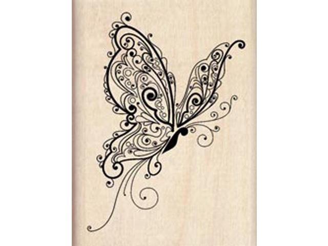 Inkadinkado Mounted Rubber Stamp-Butterfly