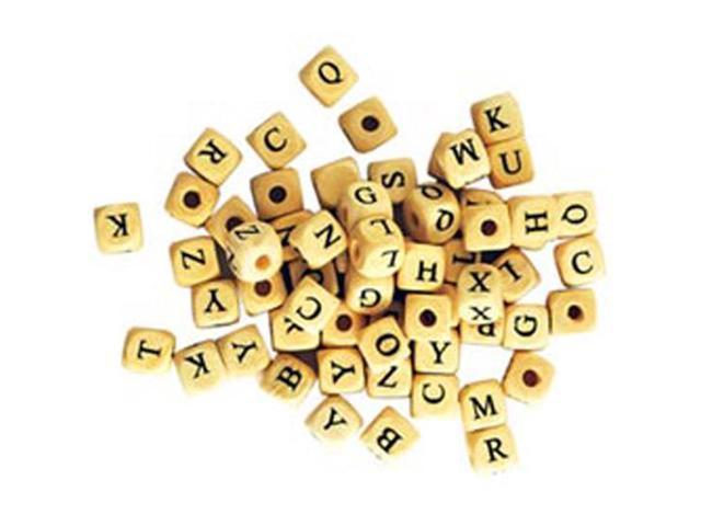 Wood Alphabet Beads 10mm 60/Pkg-Natural