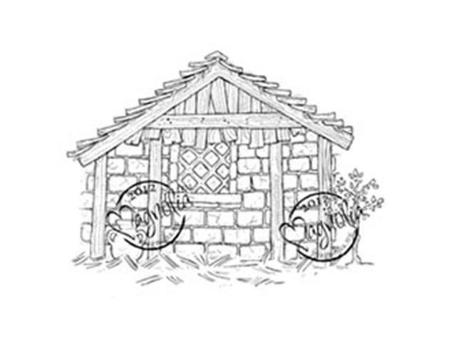 Nativity Cling Stamp-Holy House