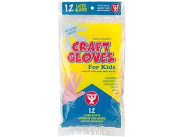 Kids Colored Craft Gloves 12/Pkg-Assorted Colors