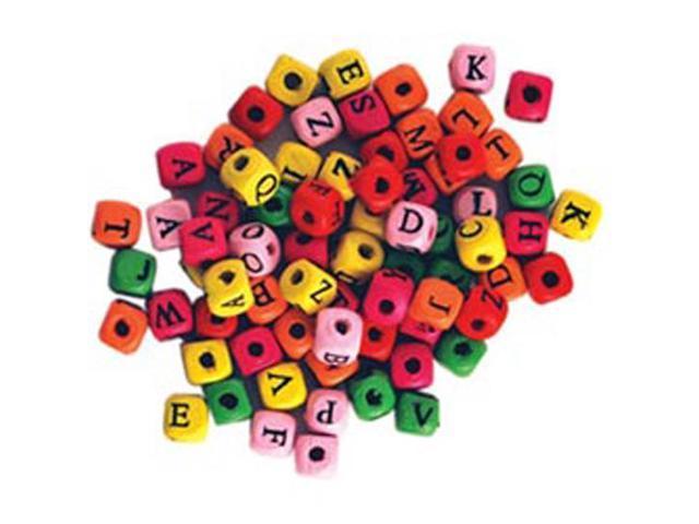 Wood Alphabet Beads 8mm 70/Pkg-Assorted Colors