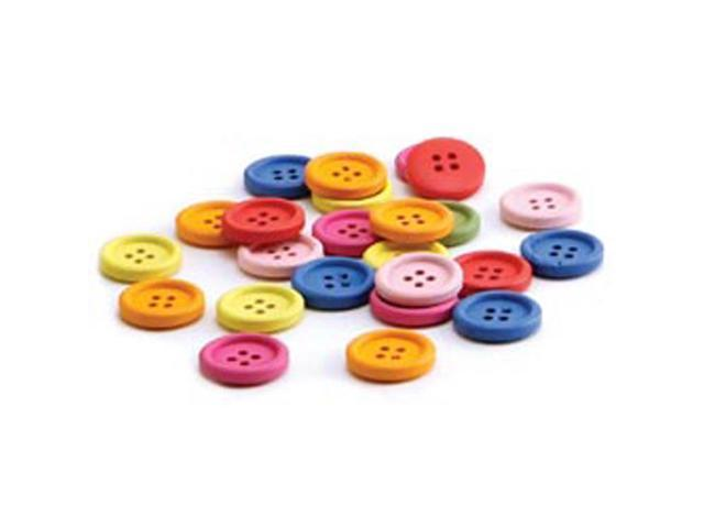 Bright Wooden Colored Buttons-20mm 40/Pkg Assorted Colors