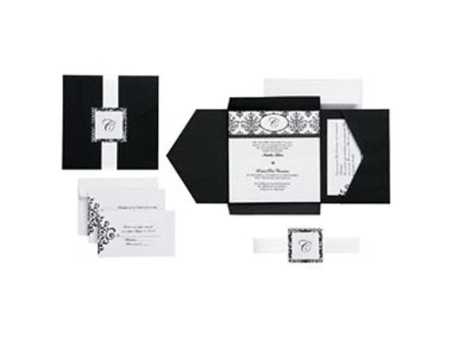 Scroll Monogram Pocket Invitation Kit-Black/White