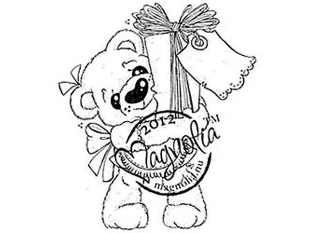 Little Christmas Cling Stamp-Cocco With Present
