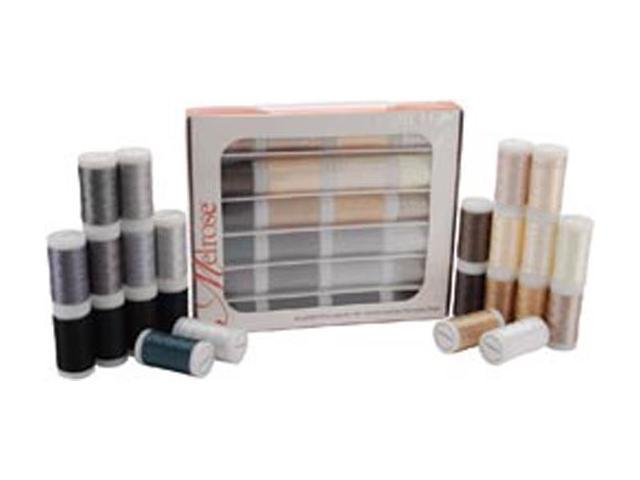 Melrose Trilobal Polyester Thread Assortment 24 Colors-Neutrals