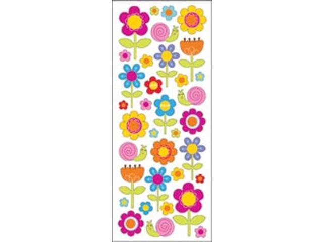 Puffy Classic Stickers-Happy Flowers