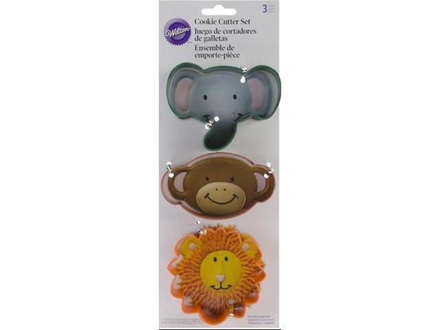 Wilton 3 pc JUNGLE PALS COOKIE CUTTER SET Lion Monkey