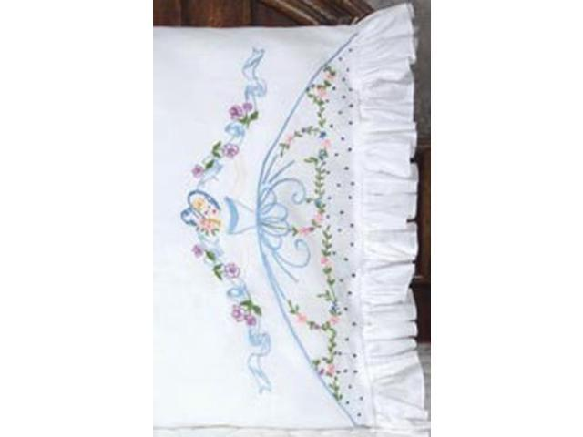 Stamped Lace Edge Colonial Lady Pillowcase 30