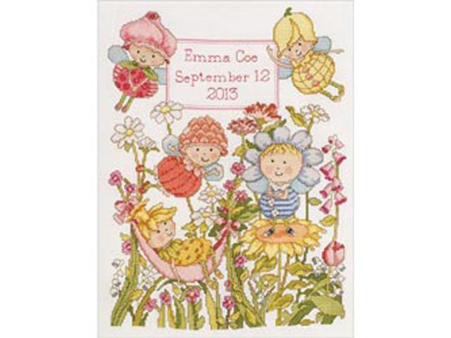 Garden Fairies Birth Record Counted Cross Stitch Kit-10