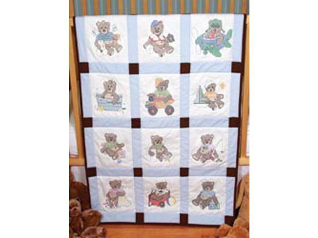 "Stamped Baby Quilt Blocks 18""X18"" 6/Pkg-Boy Bears"