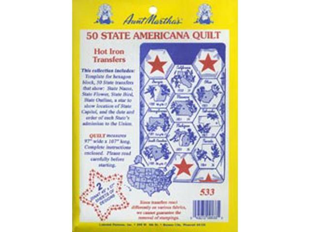 Aunt Martha's Iron-On Transfer Collections-50 State Americana Quilt