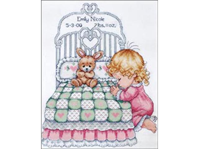 Bedtime Prayer Girl Birth Record Counted Cross Stitch Kit-11