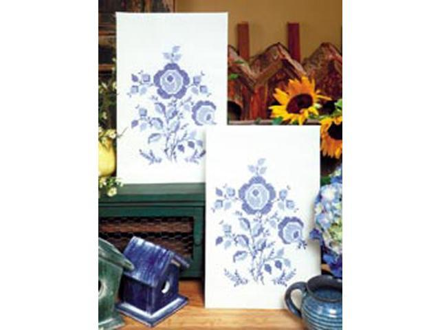 Stamped Kitchen Towels For Embroidery-Blue Rose