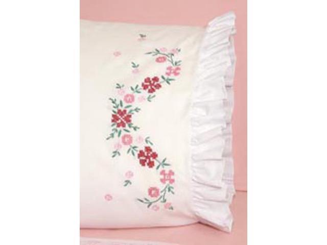 "Stamped Lace Edge Pillowcase 30""X20"" 2/Pkg-Cross Stitch Flower"