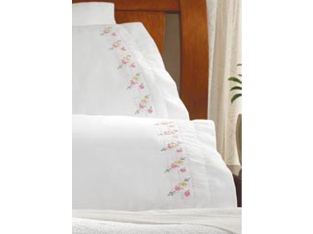 """Stamped Embroidery Pillowcase Pair 20""""X30""""-Pretty Posies"""