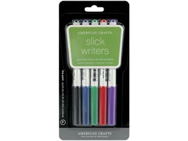Slick Writer Markers 5/Pkg-Fine Point-Black/Blue/Red/Green/Purple