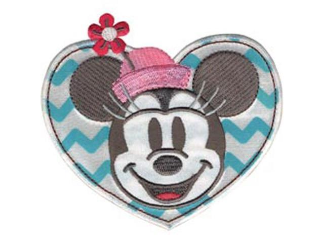 Disney Mickey Mouse Minnie In Heart Iron-On Applique-