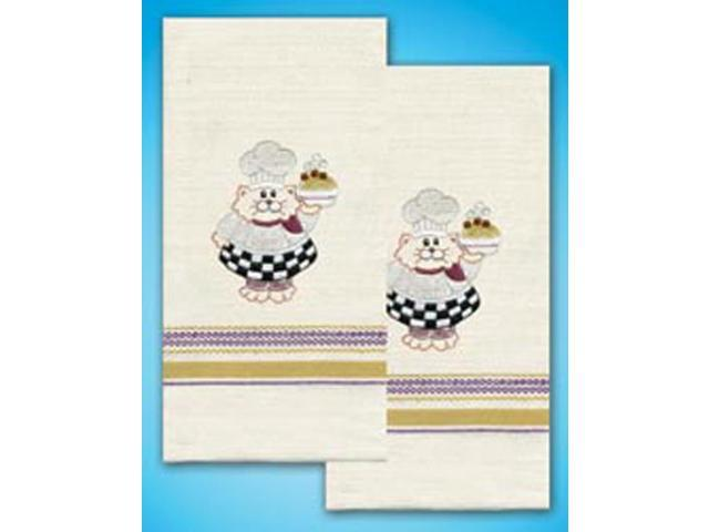 Stamped Kitchen Towels For Embroidery-Cat Chef