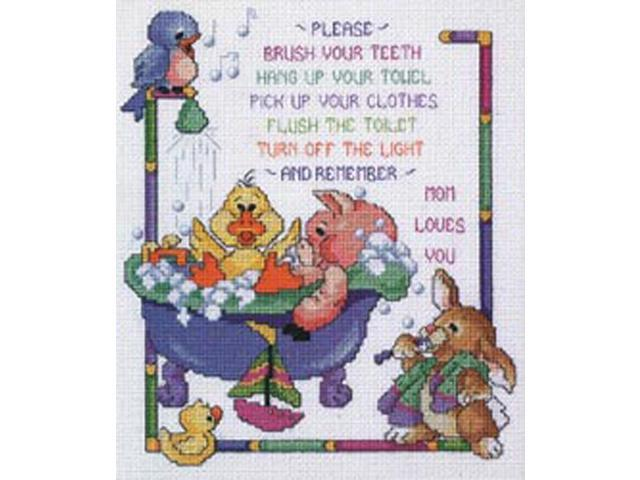 Bath Time Rules Counted Cross Stitch Kit-10