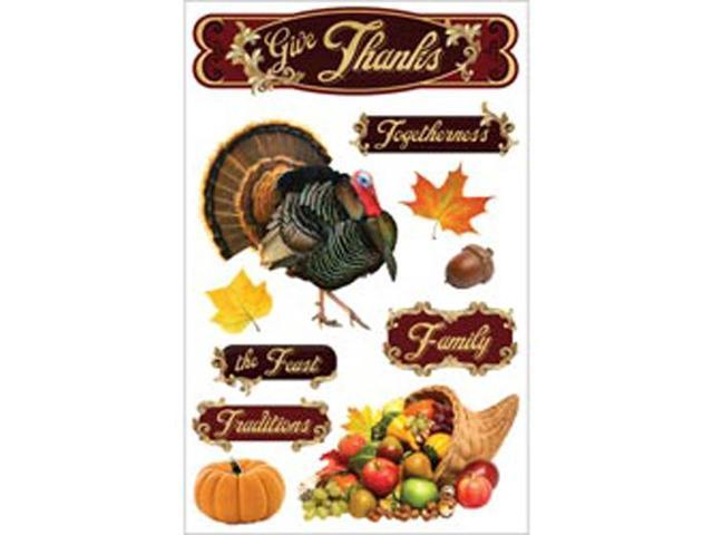 Paper House 3-D Sticker-Give Thanks