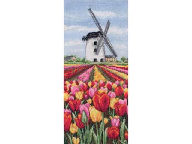 Dutch Tulips Landscape Counted Cross Stitch Kit-12-1/2