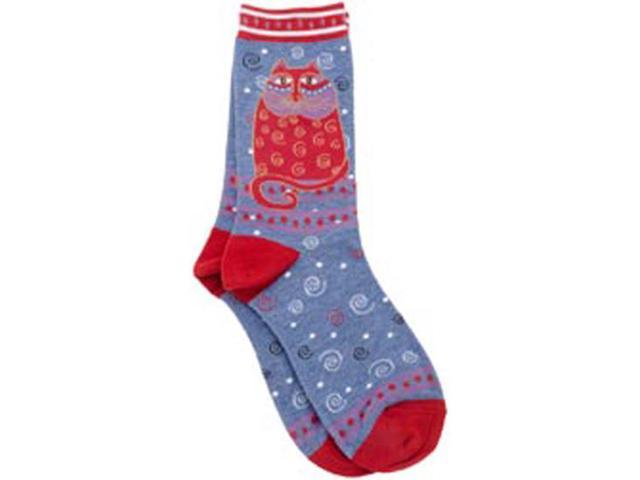 Laurel Burch Socks-Crimson Cat