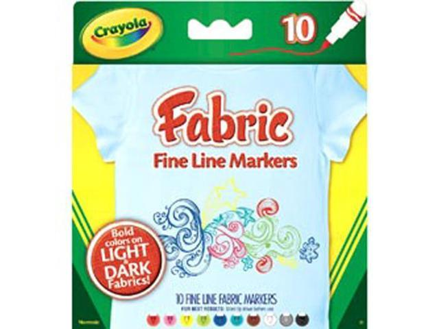 Fabric Markers Fine Line Non-Toxic 10/PK Assorted