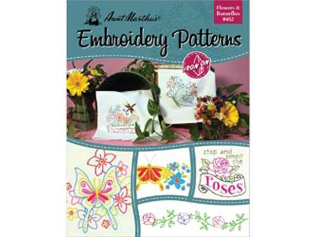 Aunt Martha's Iron-On Transfer Books-Flowers & Butterflies